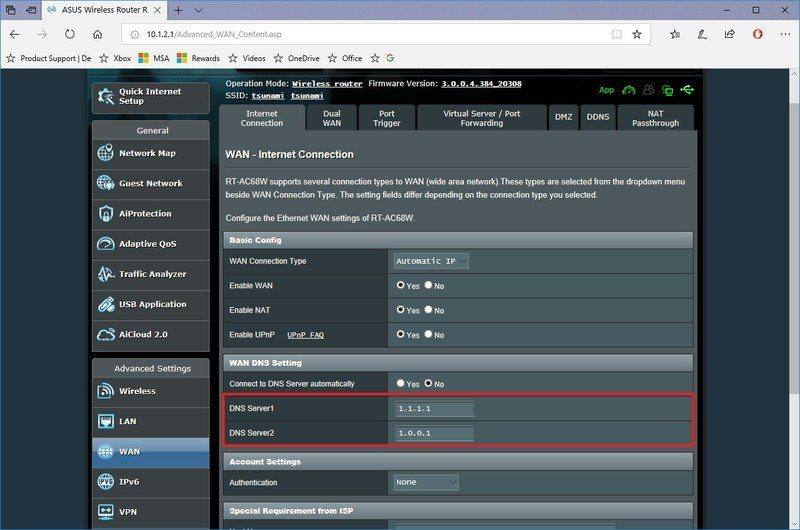 router dns settings 1111